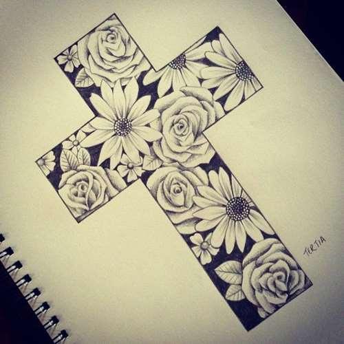Flowers In Cross Tattoo Design