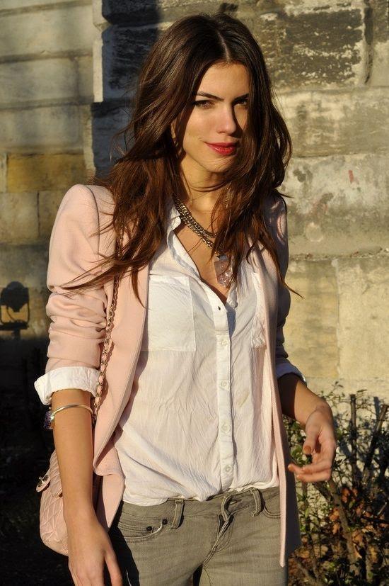 From pinterest.com =- want a blush blazer now!