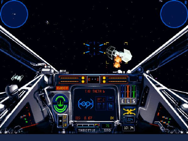 Using an X-Wing fighter to take on a group of TIE Bombers in the STAR WARS: X-WING video game.