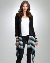 Bebe Chevron Stitch Long Sleeve Cover Up