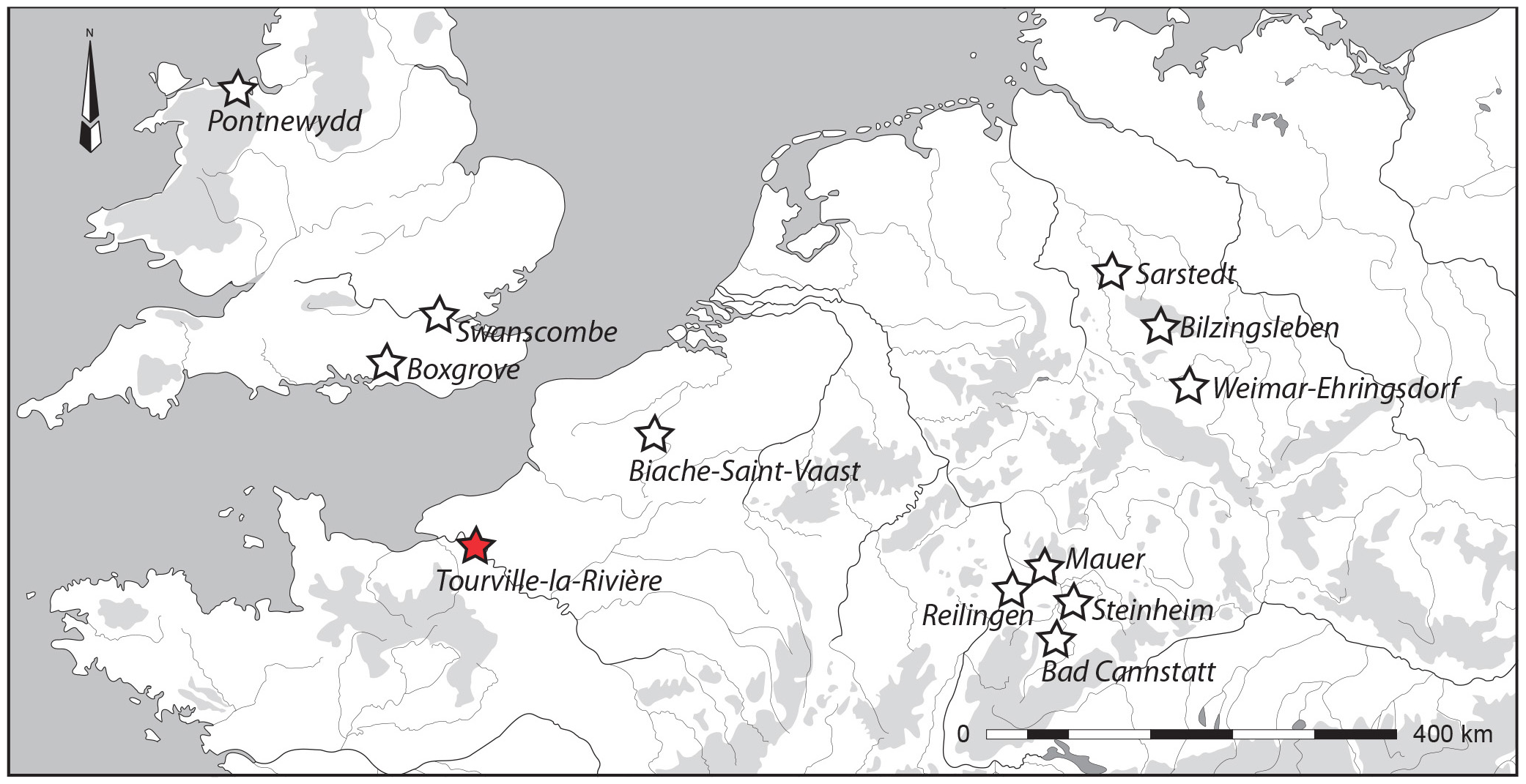 Figure 1 Location of the open-area site of Tourville-la-Rivière and other Northwest European (north to 45°N and west to 16°E) contexts, contemporaries of lower and middle Pleistocene (MIS-10-6), that have yielded human remains.