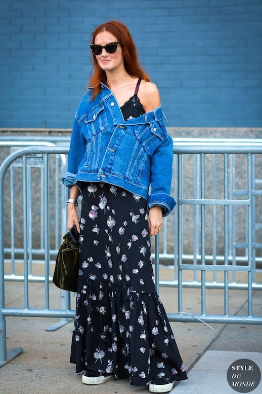 Le Fashion Blog Street Style Nyfw Taylor Tomasi Hill Red Hair Sunglasses Denim Jacket Floral Print Maxi Dress Balenciaga Velvet Bag Black Sneakers Via Style Du Monde