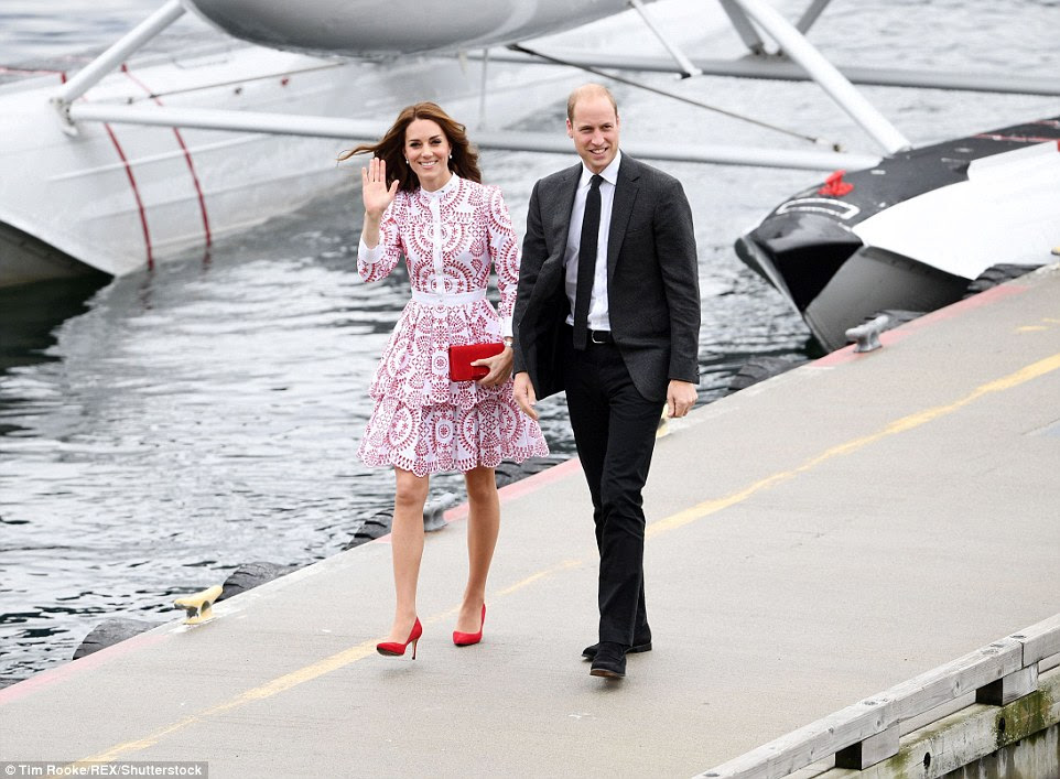 After being photographed in royal blue yesterday, Kate opted for an ensemble in the colours of Canada's flag for day two