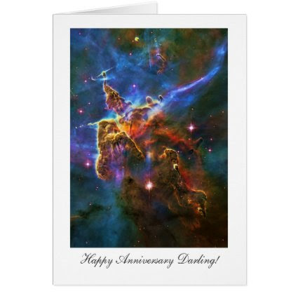 Happy Anniversay Darling, Starry Carina Nebula Greeting Card