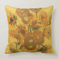 Vase with Fifteen Sunflowers by Vincent van Gogh throwpillow