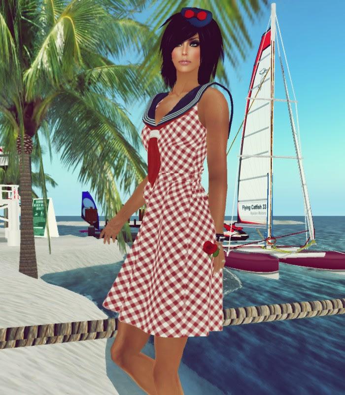 [VM] VERO MODERO  Mesh Marine Dress Red