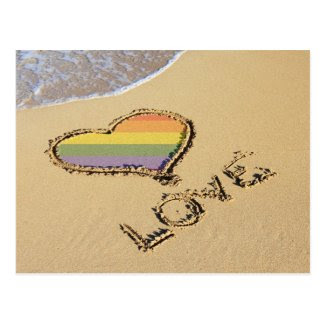 Gay Rainbow Love Heart In The Sand Post Card