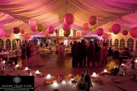 Paper Lanterns as romantic wedding reception decoration