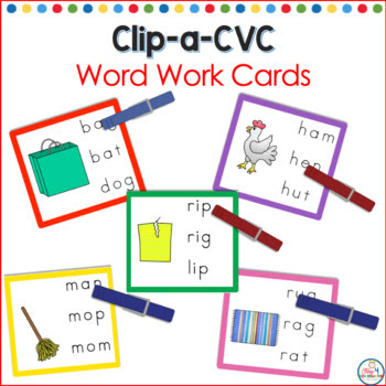 clip a cvc word, language arts centers