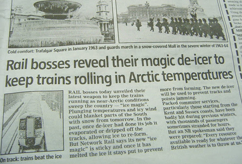 Railway prepared for Arctic temperatures - Evening Standard 24th November