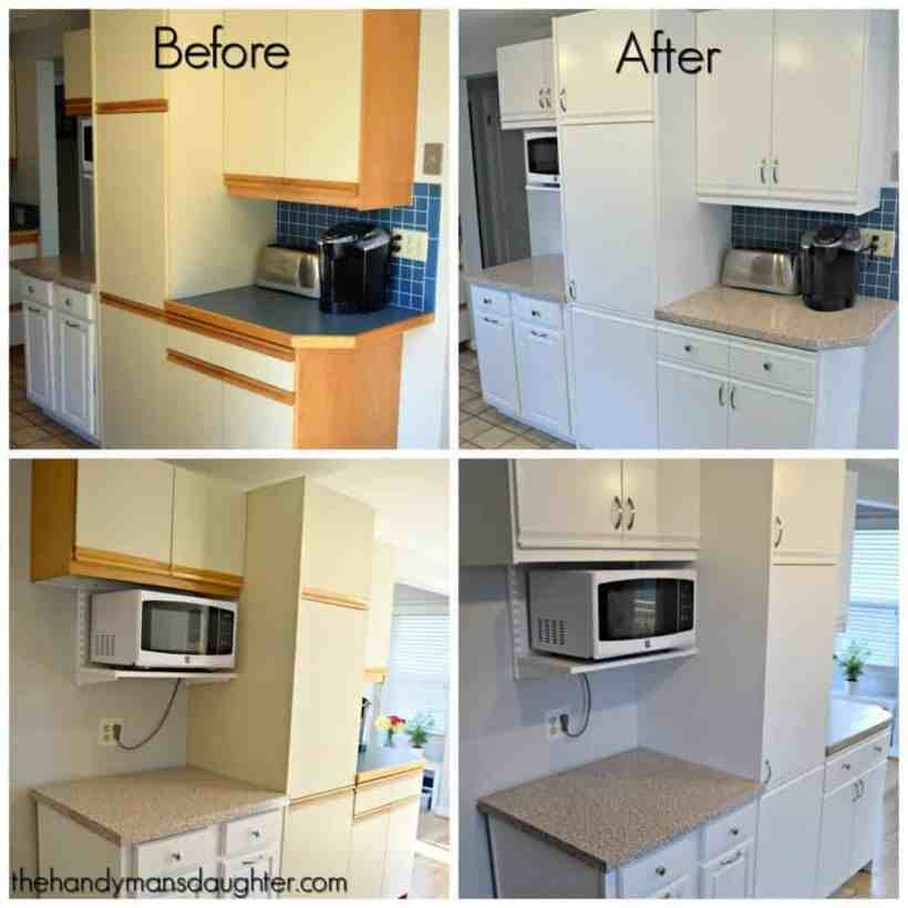 These 80's cabinets with oak trim are the worst! Give them an update with paint and new hardware, and bring them into a new century. These handy tips will help make the process easier. - The Handyman's Daughter