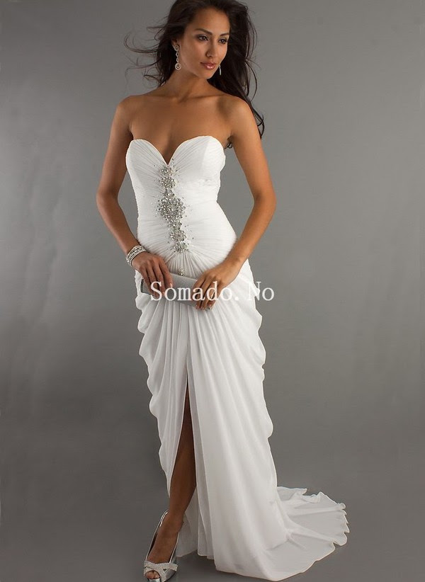 Long white evening dress