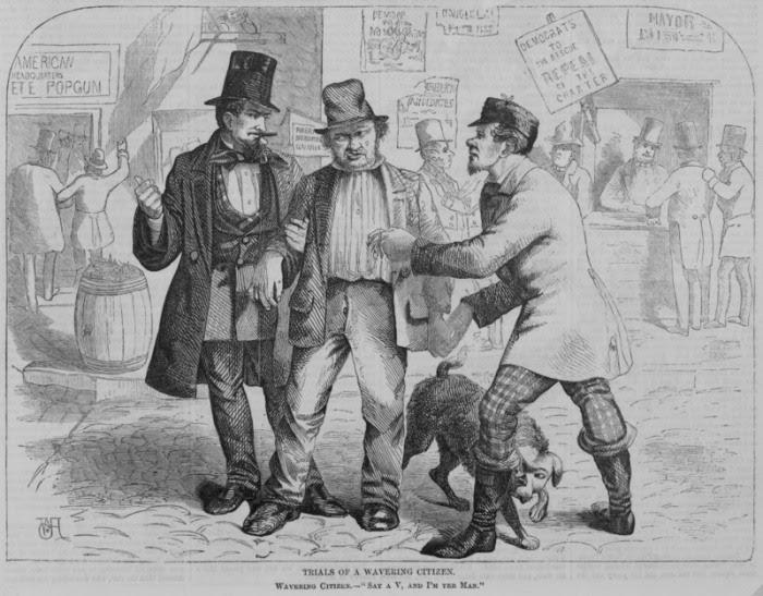 Политики, пытающиеся купить голоса избирателей. Harper's Weekly, 1857 год. | Фото: loc.gov.