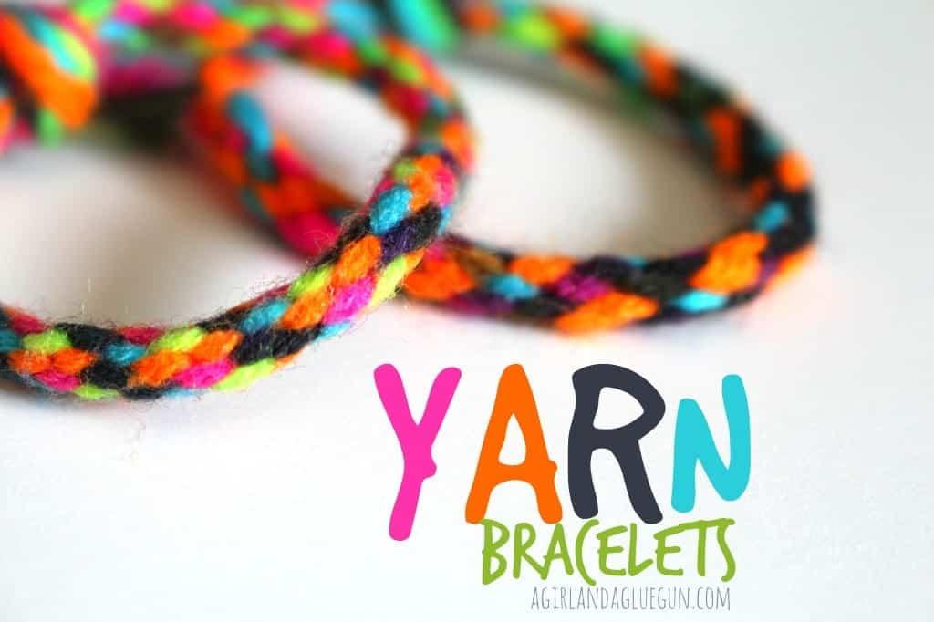 yarn bracelets-- kid craft