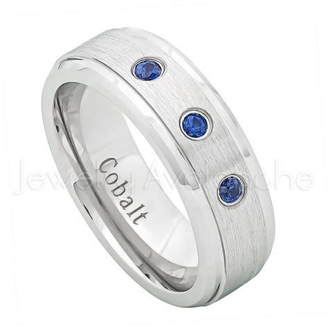 0.21ctw Blue Sapphire 3 stone Ring, 7mm Brushed Finish