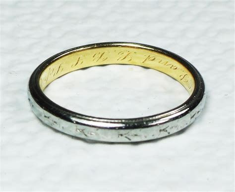 Antique 18k Tiffany & Co Gold Wedding Band Gold Engraved