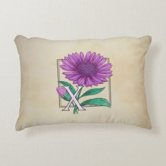 Xeranthemum Flower Monogram Artwork Accent Pillow
