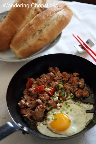 Thit Heo Bam Xao Ca Chua Banh Mi Op La (Vietnamese Ground Pork Tomato Stir-Fry with Sunny Side Up Eggs and Vietnamese French Bread) 1