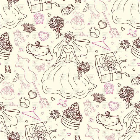 Seamless wedding pattern   sketch style Vector Image