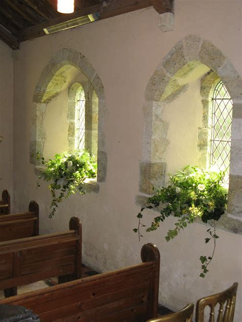 St Mary's Church, Barlavington, windowsills decorated with