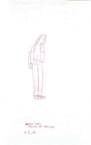 sketchdump: girl at busstop
