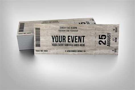 Wooden event ticket ~ Invitation Templates on Creative Market
