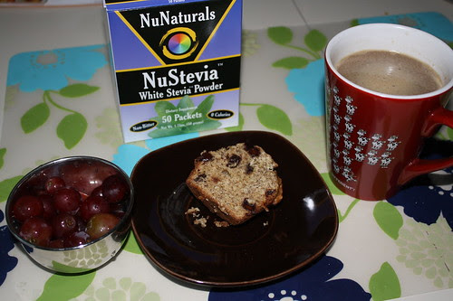 red grapes, banana chocolate chip muffin, coffee, stevia
