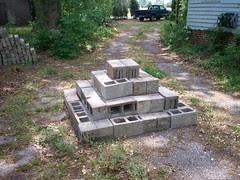 A cinderblock pyramid