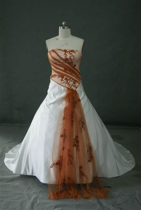 Bridal gowns with color ~ red and white wedding dress with