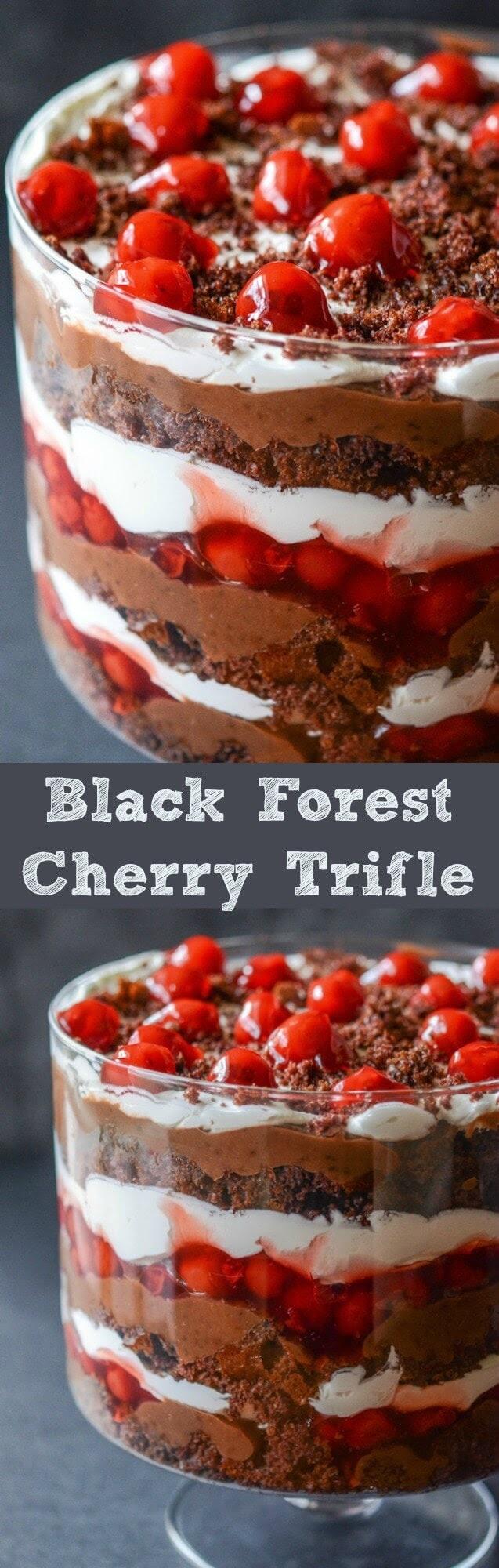 chocolate cherry trifle dessert