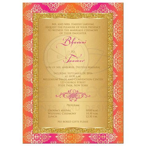 Wedding Invitation   Fuchsia, Orange, Gold Damask   Faux