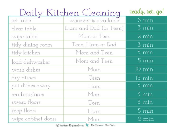 Daily Cleaning Schedule Kitchen