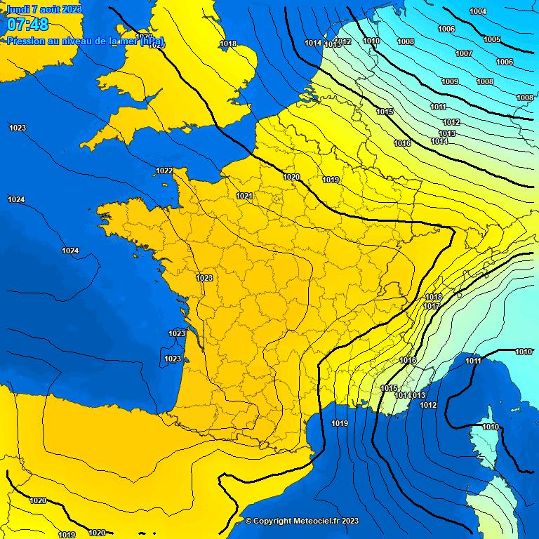 Mapa actual de pressió en superfície