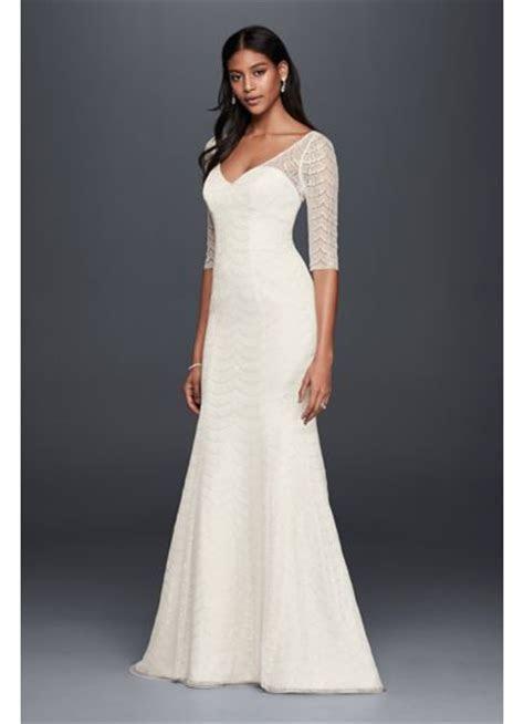Scalloped Lace 3/4 Sleeve Mermaid Wedding Dress   David's