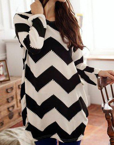 Long Sleeves Scoop Neck 2-Toned Ripple Pattern Long Sections Plus Size Women's Simple T-shirt