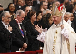Archbishop Parolin greeting well-wishers at the end of Mass in 2009. Pope Benedict XVI had just ordained him a bishop. (CNS/Paul Haring)