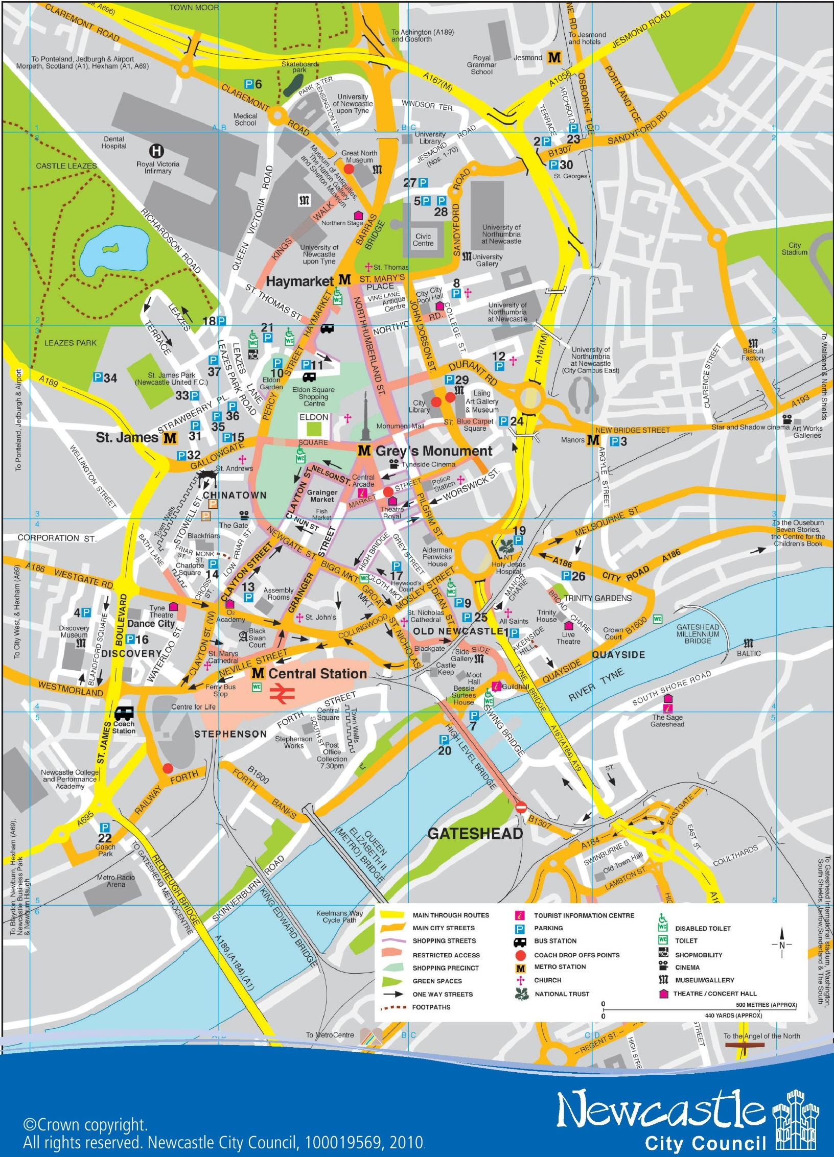 newcastle city center map