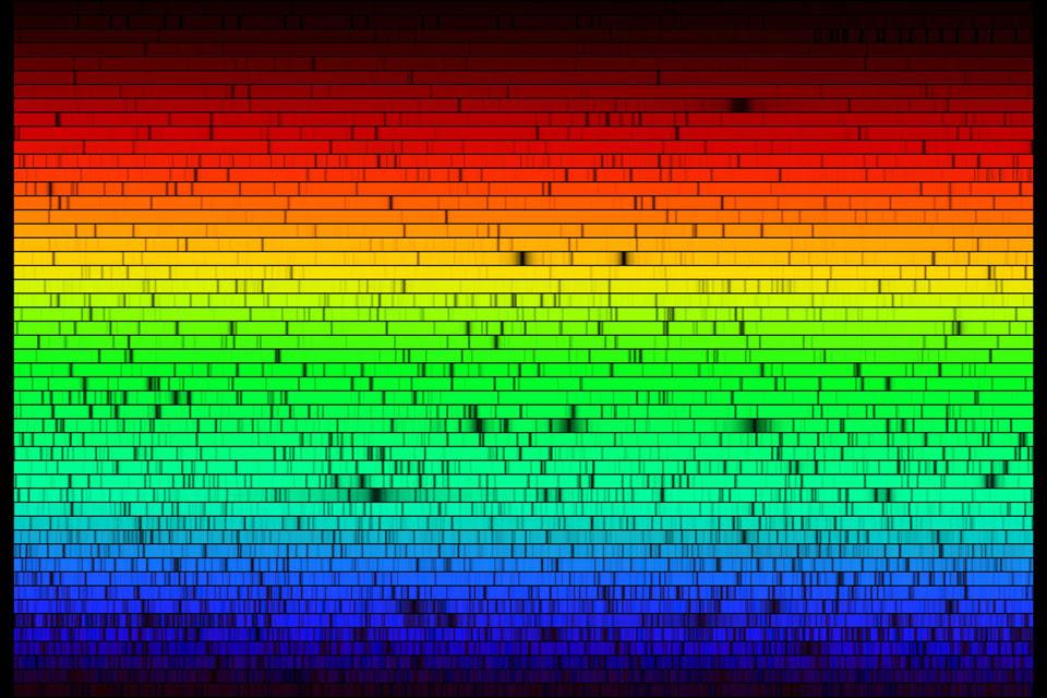 Όλα τα ορατά χρώματα του ήλιου, όπως φαίνονται όταν περνάει το φως του ήλιου μέσα από μια συσκευή-πρίσμα του μεγαλύτερου επίγειου ηλιακού παρατηρητήριου McMath-Pierce . Δεν είναι ακόμα γνωστό γιατί δεν εκπέμπει όλα τα χρώματα στο οπτικό φάσμα  Αν και με γυμνό μάτι έχουμε την αίσθηση του κίτρινου, όπως βλέπουμε στο φάσμα επικρατεί περισσότερο το κιτρινοπράσινο.