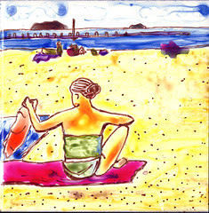 Beach painting on ceramic tile