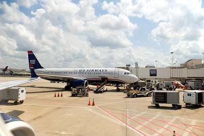 US Airway Airbus jet boarding in Atlanta
