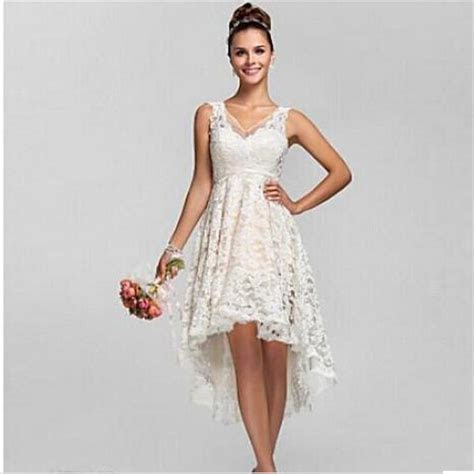 2016 Summer High Low Lace Beach Wedding Dresses Plus Size