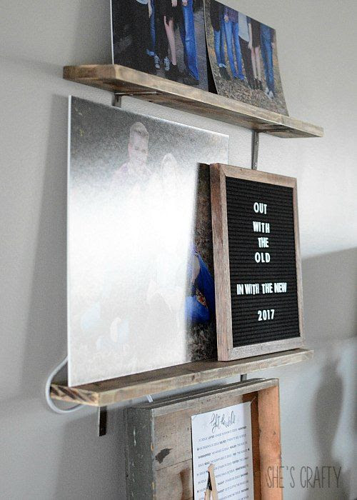 hide cables with photos, letter board, family photos, photos mounted on mat board