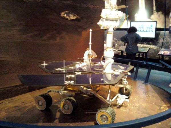 A life-size Mars Rover replica...inside the exhibit room right next door to the von Kármán Auditorium.