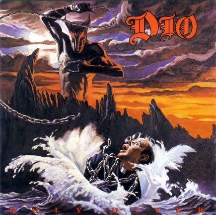 This is an album cover by the rock band Dio. The album is called Holy Diver. Dio's singer is former Black Sabbath frontman Ronnie James. The Satan character is clearly displaying the same hand signal.