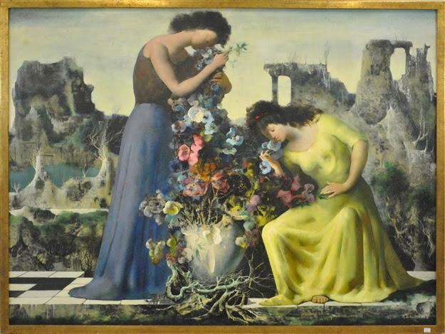 Paysage Animé Avec Bouquet De Fleurs By Marcel Delmotte On