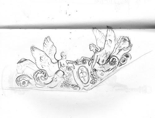 Ceiling corner @ Library of Congress (Sketch Crawl 30)