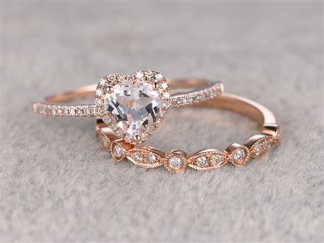 6mm Heart Shaped Morganite Wedding Set Diamond Bridal Ring