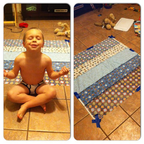 Came into the room to find Luke had started basting my quilt for me. Child labor laws? Psh.