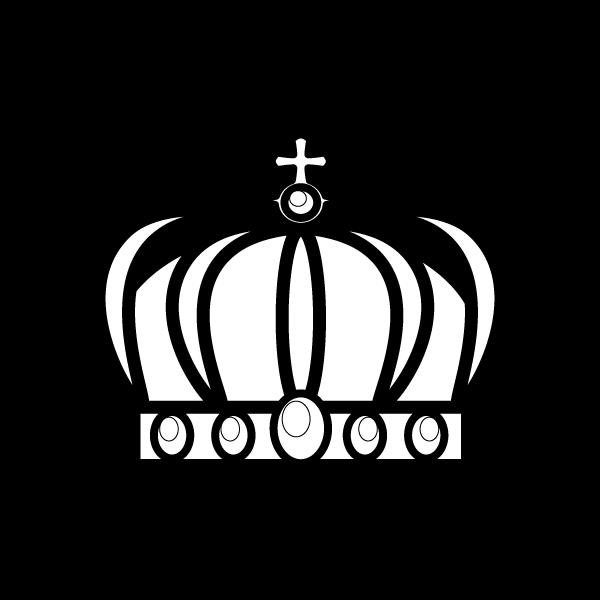 塗り絵に最適な白黒でかわいい王冠2の無料イラスト商用フリー オイデ43