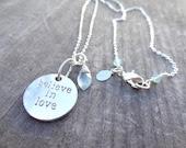Silver Believe in Love Aqua Blue Chalcedony Crystal Bead Necklace Pendant Wire Wrap Handmade Jewelry